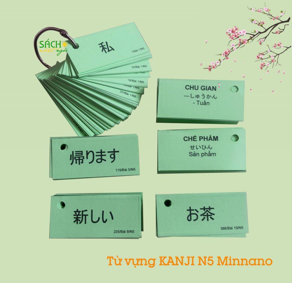 Flashcard từ vựng Kanji N5 sách Minna no nihongo 4
