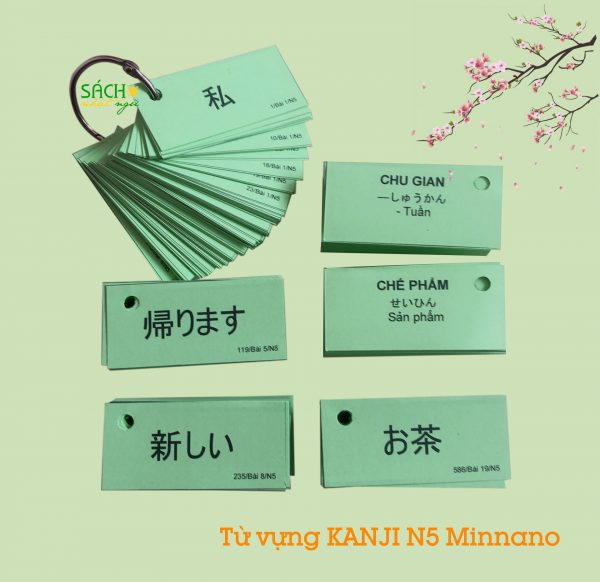 Flashcard từ vựng Kanji N5 sách Minna no nihongo 1